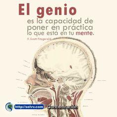 El genio es la capacidad de poner en práctica lo que está en tu mente. F. Scott Fitzgerald.  http://selvv.com/concentracion/ #Selvv