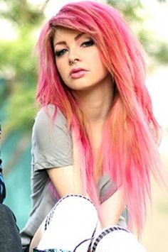 Gorgeous voluminous emo hairstyle with fringe