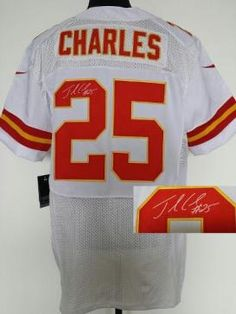 Nike Kansas City Chiefs Jersey 25 Jamaal Charles White Elite Signed NFL Jerseys