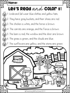 Farm Animals Following Directions worksheet provides