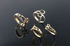 14K gold Barber Shear rings. Hairdressers and seamstresses will like this too! By Cavallo Fine Jewelry