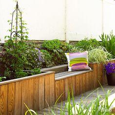 Garden bench and raised bed Planter Bench, Patio Bench, Cedar Garden, Terrace Garden, Small Backyard Gardens, Backyard Landscaping, Small Backyards, Raised Garden Beds, Raised Beds