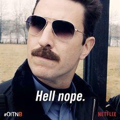 OITNB, Orange is the New Black, great tv, Netflix. Bennett, sunglasses, moustache, powerful face, portrait