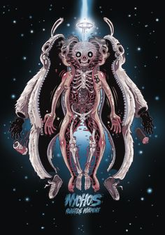 art, illustration, figure, man, animal, rabbit, skeleton, monster, alien, space, night, stars, lighting, fantasy, creepy. //  Nychos - Rabbit Eye Movement