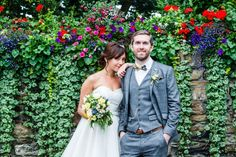 Bride and groom in front of an ivy covered wall at Fernhill House Hotel Stunning Summer, Absolutely Stunning, Beautiful, Hotel Wedding, Summer Wedding, Ivy, Groom, Gardens, Weddings