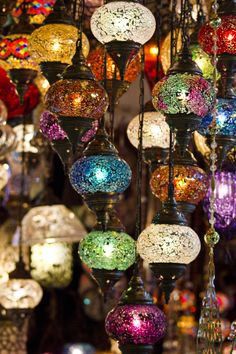 Turkish Lamps by Seren Özgür on Turkish Lanterns, Turkish Lamps, Crystal Glassware, Cafe Interior, Bohemian Decor, Light Decorations, Mosaic Glass, Fairy Lights, Camden