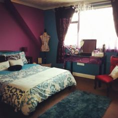 Absolutely adore my teal and purple bedroom with all my lil girly bits. My lil heaven to relax in!