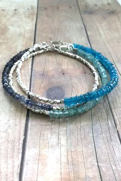 Neon Apatite bracelet, Hill Tribe Silver beaded jewelry, colorful blue stone bracelets