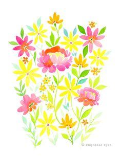 Calidad de impresión reproducción de mi acuarela arte pintura, floración Floral. Esta pieza está impreso en papel mate hermoso de alta calidad con tintas archivales. Todas las impresiones llegan sellados en una manga de violonchelo en una envoltura protectora de cartón. * marca de agua no aparecerán en la impresión. Stephanie Ryan Art Dulces acuarelas flores, pájaros y mariposas inspiradas en la naturaleza con palabras inspiradoras y pensativos tejida a lo largo. © 2013 Stepha...