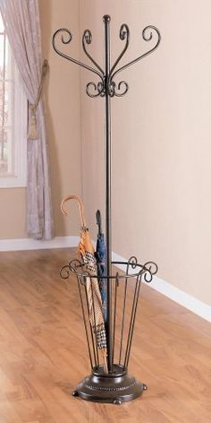 """Metal Coat Rack with Umbrella Stand by Coaster Home Furnishings. $92.00. Some assembly may be required. Please see product details.. The Black MetalCoat Rack with Umbrella Basket from Coaster is great for the entry hallway. The coat rack is made of metal. Some assembly is required.It is usually in stock and ships to you at no additional charge.Dimensions:Coat Rack (Coaster Model 900029) 18.5 Dia x 68"""" H"""""""