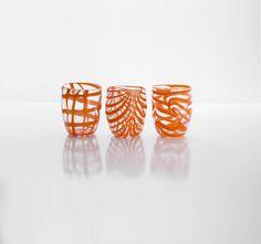 #Goti - #Artistic glass, orange vitreous paste. #Aria collection. Knot, grid and festoon motif.