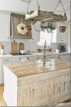 Farmhouse Kitchen Ideas for Fixer Upper Style + Industrial Flare Idea for repaint of my island and also to change out the hood cover. Buckets of Burlap Farmhouse Kitchen, 20 Farmhouse Kitchens via A Blissful Nest Farmhouse Kitchen Island, Modern Farmhouse Kitchens, Home Kitchens, Kitchen Islands, Vintage Farmhouse, Farmhouse Decor, Country Decor, Farmhouse Cabinets, Kitchen Rustic