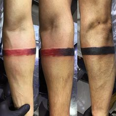 Black To Red Ink Faded Armband Tattoos For Guys