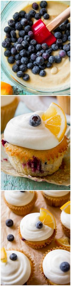 Meyer Lemon Blueberry Cupcakes - Deliciously simple lemon cupcakes with blueberries in each bite and cream cheese frosting!