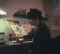 anna bond of rifle paper, studio, portrait, desk, drawing, painting, lamp, style, interiors, work space