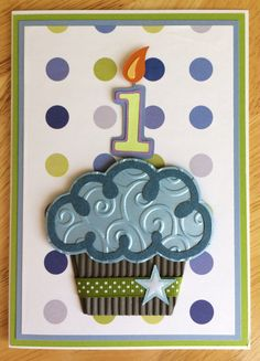 1st birthday card i made for a special little boy named owen 3d cupcake handmade birthday card 1 2 3 year old boy birthday card birthday card with cupcake and polka dots greens and blues bookmarktalkfo Choice Image