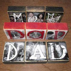 PERSONALIZED Gift Photo Blocks MOM Dad POP von WasteNotRecycledArt