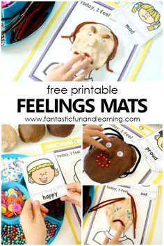 Free printable feelings mats and emotions activities for teaching feelings in preschool and kindergarten - Kids education and learning acts Feelings Preschool, Teaching Emotions, Feelings Activities, About Me Activities, Playdough Activities, Kindergarten Activities, Calming Activities, Health Activities, Preschool Age