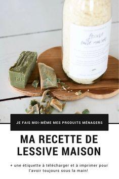 Découvre ma recette facile de lessive maison au savon de Marseille et profite de mes étiquettes recette à télécharger et à coller directement sur ta bouteille de lessive!