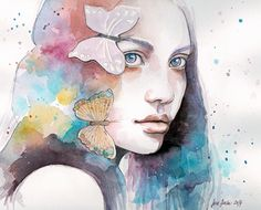 Lady with a butterfly, watercolor study by jane-beata.deviantart.com on @DeviantArt