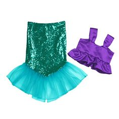Alvivi Girl Mermaid Costume Beachwear Outfit Top Sequins Fish Tail Mesh Skirt 2 Piece Set Set Include: Top Mermaid Skirt Condition: New with tag Material: Polyamide Sequin Mesh Color: Purple&Green(as pictures show) Tag No. Mermaid Fancy Dress, Mermaid Tail Skirt, Girls Mermaid Costume, Mermaid Halloween Costumes, Girls Mermaid Tail, Mermaid Outfit, Fancy Dress Up, Ariel Mermaid, Mermaid Princess