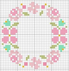 Flower circle cross stitch pattern / chart. Perfect for the compact mirror <3