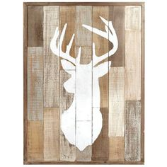 Against a background evoking weathered, reclaimed wood, the single silhouette of a magnificent buck has been hand-painted in white. At once nostalgic and ruggedly outdoorsy, this is the new focal for retreats, studies and dens.