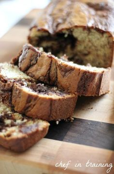 Nutella Banana Bread... this bread is seriously AMAZING! Perfect recipe for browning bananas!