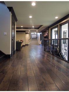 Dark hardwood floors with dark trim Walnut Floors, Dark Wood Floors, White Flooring, Oak Flooring, Flooring Ideas, Vinyl Flooring, Scraped Wood Floors, Hand Scraped Hardwood, Rustic Floors