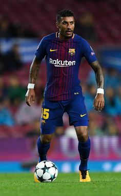 Paulinho Photos - Paulinho of FC Barcelona runs with the ball during the UEFA Champions League group D match between FC Barcelona and Olympiakos Piraeus at Camp Nou on October 18, 2017 in Barcelona, Spain. - FC Barcelona v Olympiakos Piraeus - UEFA Champions League