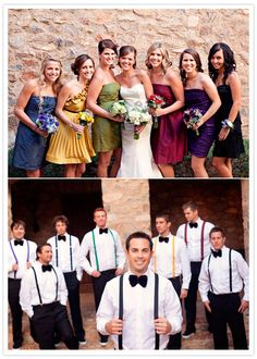 Different colored bridesmaids dresses, groomsmen have corresponding colored suspenders