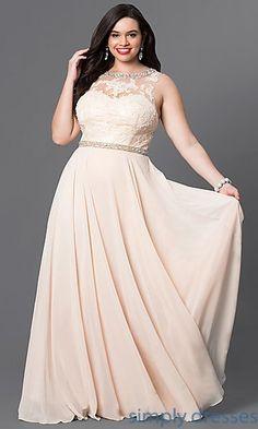 Plus-Size Long Formal Evening Dress in Champagne. Chiffon Evening  DressesChiffon ... 9c514621e8f3