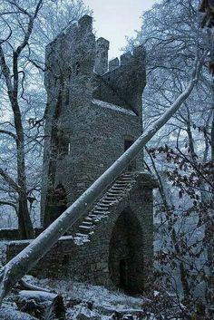 Ruins of Castle Karlsburg nearby Rheinbollen and Stromberg Germany.