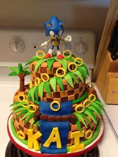 Ayden's birthday cake this year Sonic Birthday Cake, Birthday Cake Video, Sonic Birthday Parties, Geek Birthday, 5th Birthday, Bolo Sonic, Sonic Cake, Sonic Party, Sonic Kuchen