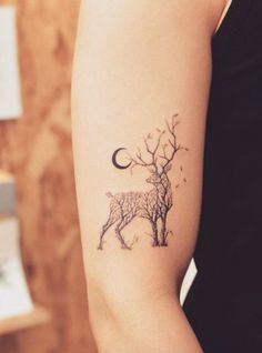 Nature Animal Black Henna Deer Tree Arm Tattoo Ideas at MyBodiArt.com