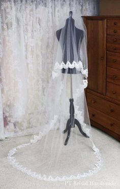 Handmade Cathedral Wedding Veil-Two Layer Cathedral Veil-Off White Bridal Veil (Veil #8)