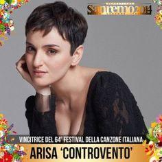 """Sanremo 2014: il trionfo di Arisa MilanoWeb.com - In February 2014, Arisa returned to the Sanremo Music Festival 2014. She presented """"Controvento"""" and won the competition"""