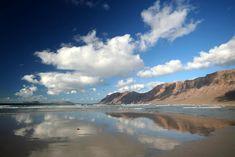 blue skies, famara beach