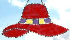 "Red, Yellow & Purple Hat Sun Catcher- 4 1/2"" x 8""-  $16.95  - Handcrafted Stained Glass Designs - Handcrafted Stained Glass Designs  - Glass Suncatchers, Stained Glass Décor, Stained Glass Sun Catchers -  Stained Glass Design    * More at www.AccentOnGlass.com"