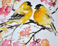 ORIGINAL Watercolor Painting Goldfinches and Pink by ArtCornerShop