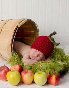 Touca em crochê MAÇÃ BABY (unissex)   Bebê Bonito   Elo7
