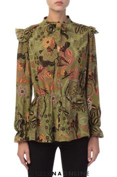 Floral prints are everywhere this season! Put yourself in a good mood by wearing this gorgeous floral blouse. Floral Fashion, Floral Blouse, Missoni, Military Jacket, Floral Prints, Tunic Tops, Blouses, Mood, Womens Fashion