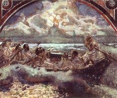 Caminar sobre el agua, acuarela de Mikhail Vrubel (1856-1910, Russia)