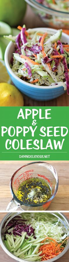 Apple and Poppy Seed Coleslaw - Wonderfully tangy and refreshing, and the perfect side dish to any meal!Apple a d poppyseed coleslaw Vegetarian Recipes, Cooking Recipes, Healthy Recipes, Apple Recipes, Comidas Light, Summer Salads, Soup And Salad, Food For Thought, Salad Recipes