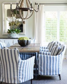 Striped slipcovered dining chairs, blue and white home