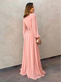 Vestido-Longo-Angela-Rose- Pink Prom Dresses, Bridesmaid Dresses, Wedding Dresses, Hijab Fashion, Fashion Outfits, Womens Fashion, Hijab Outfit, Frocks, Blouses For Women