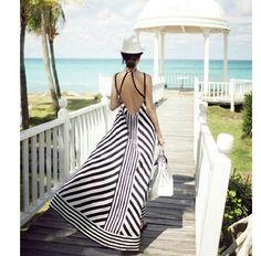 Open Back Stripe Maxi