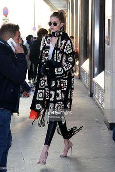 Gigi Hadid visits 'Le Bon Marche' departement store on January 20, 2016 in Paris, France.