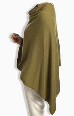 Cashmere Poncho in Olive by Catherine Robinson www.catherinerobinsoncashmere.com