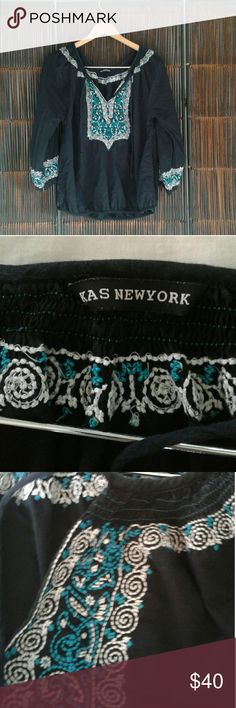 Boho top Boho by Kas New York. Elastic at bottom. Tie front.   Great with jeans. kas Tops